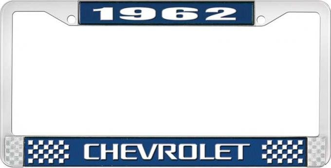 OER 1962 Chevrolet Style #3 Blue and Chrome License Plate Frame with White Lettering LF2236203B