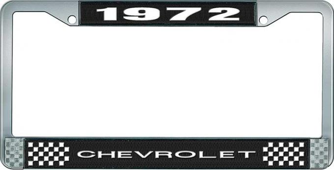 OER 1972 Chevrolet Style # 1 Black and Chrome License Plate Frame with White Lettering LF2237201A