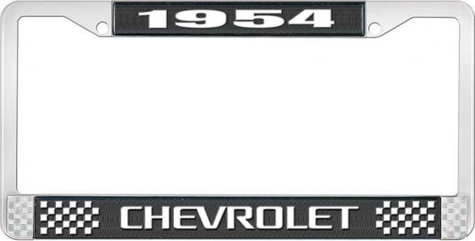 OER 1954 Chevrolet Style #3 Black and Chrome License Plate Frame with White Lettering LF2235403A