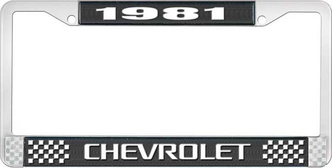 OER 1981 Chevrolet Style # 3 Black and Chrome License Plate Frame with White Lettering LF2238103A