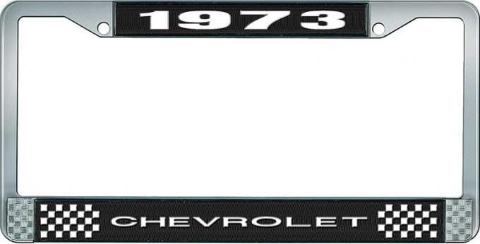 OER 1973 Chevrolet Style # 1 Black and Chrome License Plate Frame with White Lettering LF2237301A