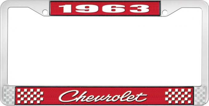 OER 1963 Chevrolet Style #4 Red and Chrome License Plate Frame with White Lettering LF2236304C