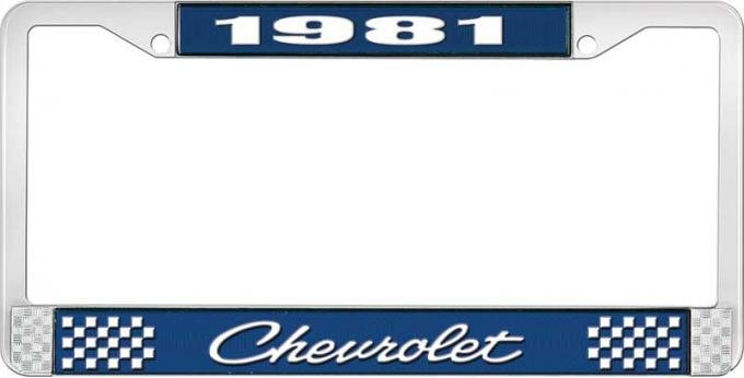 OER 1981 Chevrolet Style # 4 Blue and Chrome License Plate Frame with White Lettering LF2238104B
