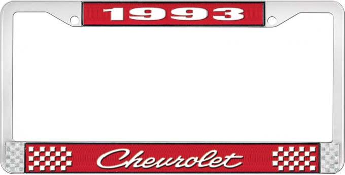 OER 1993 Chevrolet Style # Red and Chrome License Plate Frame with White Lettering LF2239304C