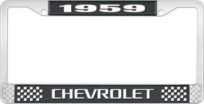 OER 1959 Chevrolet Style #3 Black and Chrome License Plate Frame with White Lettering LF2235903A