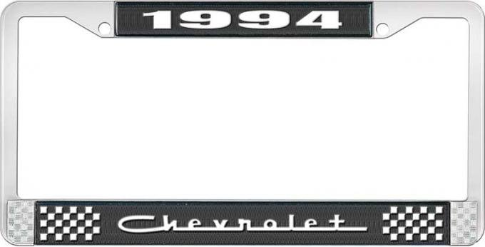 OER 1994 Chevrolet Style # 5 Black and Chrome License Plate Frame with White Lettering LF2239405A