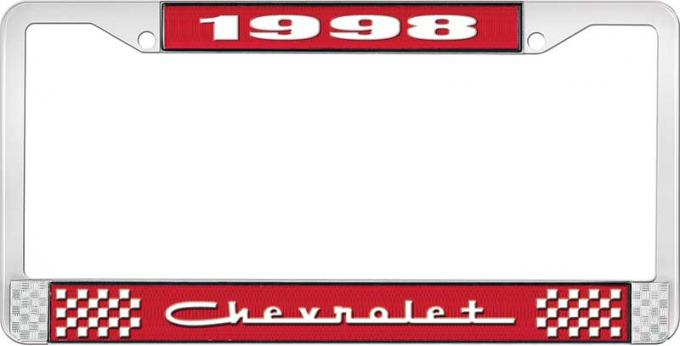 OER 1998 Chevrolet Style # 5 Red and Chrome License Plate Frame with White Lettering LF2239805C