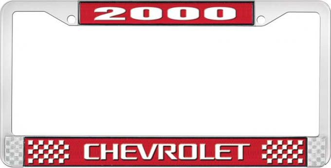 OER 2000 Chevrolet Style # 3 - Red and Chrome License Plate Frame with White Lettering LF2230003C