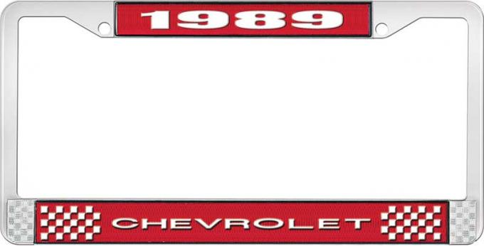 OER 1989 Chevrolet Style # Red and Chrome License Plate Frame with White Lettering LF2238901C
