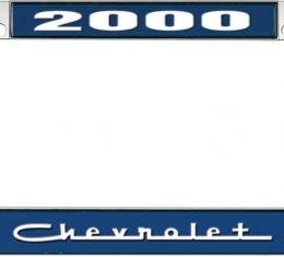 OER 2000 Chevrolet Style #5 - Blue and Chrome License Plate Frame with White Lettering *LF2230005B