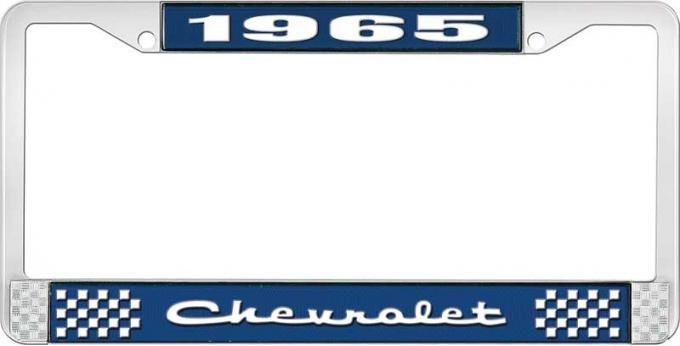 OER 1965 Chevrolet Style #2 Blue and Chrome License Plate Frame with White Lettering LF2236502B