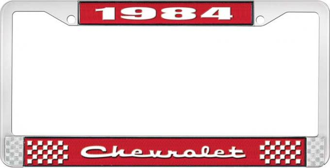OER 1984 Chevrolet Style # 2 Red and Chrome License Plate Frame with White Lettering LF2238402C
