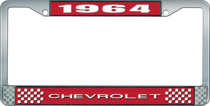 OER 1964 Chevrolet Style #1 Red and Chrome License Plate Frame with White Lettering LF2236401C