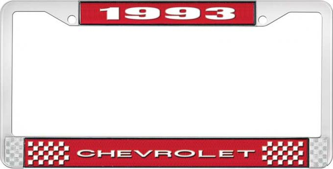 OER 1993 Chevrolet Style # 1 Red and Chrome License Plate Frame with White Lettering LF2239301C