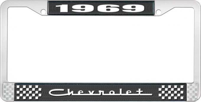 OER 1969 Chevrolet Style # 5 Black and Chrome License Plate Frame with White Lettering LF2236905A