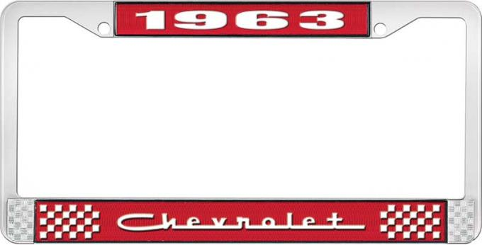 OER 1963 Chevrolet Style #5 Red and Chrome License Plate Frame with White Lettering LF2236305C