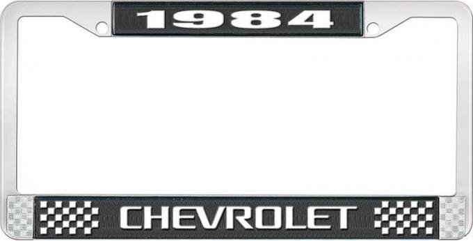 OER 1984 Chevrolet Style # 3 Black and Chrome License Plate Frame with White Lettering LF2238403A