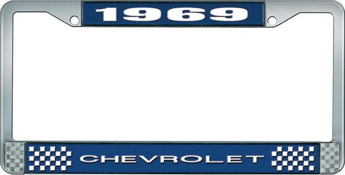 OER 1969 Chevrolet Style # 1 Blue and Chrome License Plate Frame with White Lettering LF2236901B