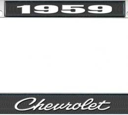 OER 1959 Chevrolet Style #4 - Black and Chrome License Plate Frame with White Lettering *LF2235904A