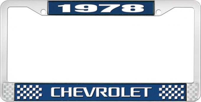 OER 1978 Chevrolet Style # 3 Blue and Chrome License Plate Frame with White Lettering LF2237803B