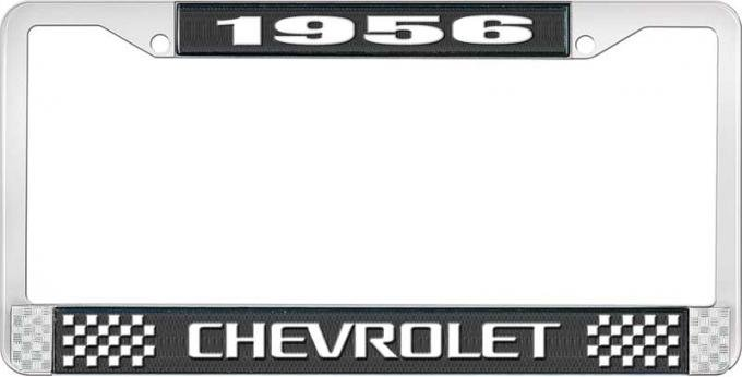 OER 1956 Chevrolet Style #3 Black and Chrome License Plate Frame with White Lettering LF2235603A