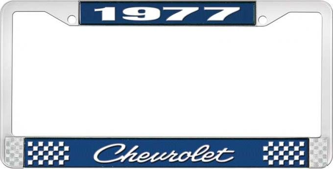 OER 1977 Chevrolet Style # 4 Blue and Chrome License Plate Frame with White Lettering LF2237704B