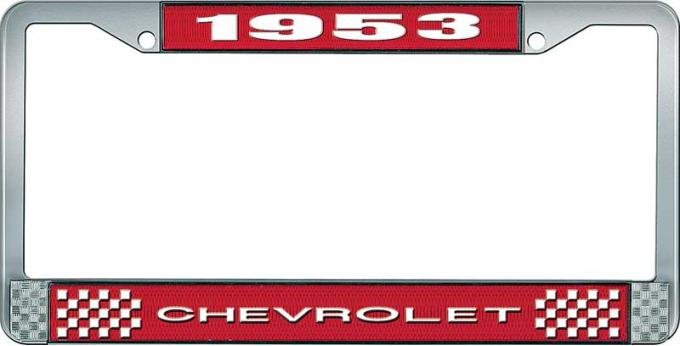 OER 1953 Chevrolet Style #1 Red and Chrome License Plate Frame with White Lettering LF2235301C
