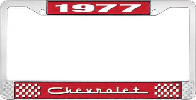 OER 1977 Chevrolet Style # 5 Red and Chrome License Plate Frame with White Lettering LF2237705C