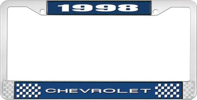 OER 1998 Chevrolet Style # 1 Blue and Chrome License Plate Frame with White Lettering LF2239801B
