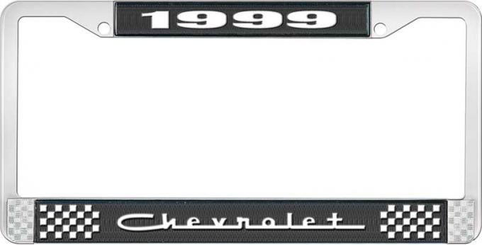 OER 1999 Chevrolet Style # 5 Black and Chrome License Plate Frame with White Lettering LF2239905A