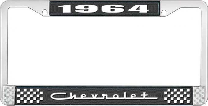 OER 1964 Chevrolet Style #5 Black and Chrome License Plate Frame with White Lettering LF2236405A