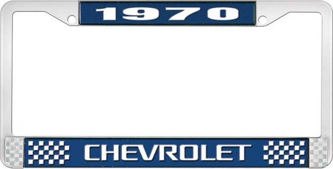 OER 1970 Chevrolet Style # 3 Blue and Chrome License Plate Frame with White Lettering LF2237003B