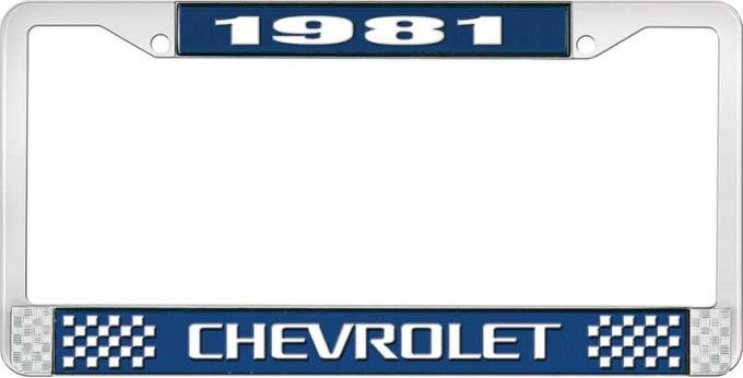 OER 1981 Chevrolet Style # 3 Blue and Chrome License Plate Frame with White Lettering LF2238103B