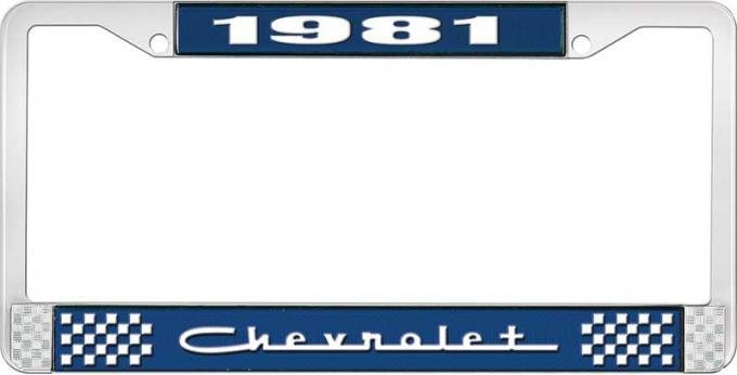 OER 1981 Chevrolet Style # Blue and Chrome License Plate Frame with White Lettering LF2238105B