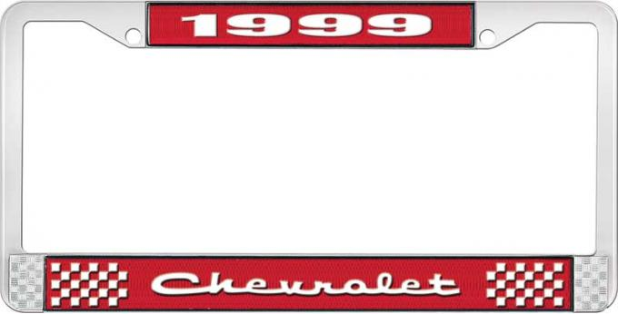 OER 1999 Chevrolet Style # 2 Red and Chrome License Plate Frame with White Lettering LF2239902C