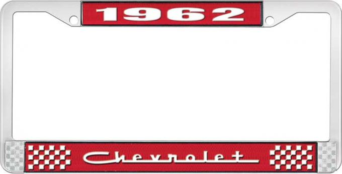 OER 1962 Chevrolet Style #5 Red and Chrome License Plate Frame with White Lettering LF2236205C