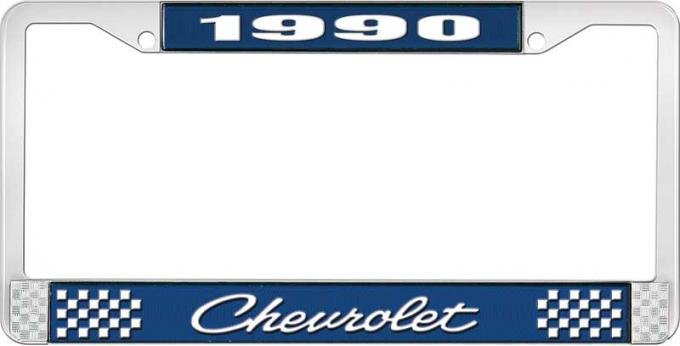 OER 1990 Chevrolet Style # 4 Blue and Chrome License Plate Frame with White Lettering LF2239004B