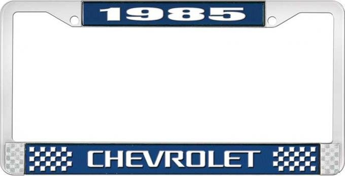 OER 1985 Chevrolet Style # 3 Blue and Chrome License Plate Frame with White Lettering LF2238503B
