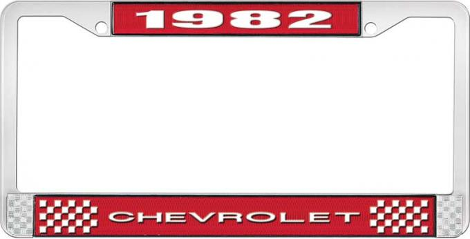 OER 1982 Chevrolet Style # 1 Red and Chrome License Plate Frame with White Lettering LF2238201C