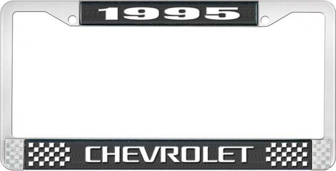 OER 1995 Chevrolet Style # 3 Black and Chrome License Plate Frame with White Lettering LF2239503A