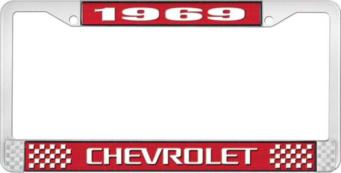 OER 1969 Chevrolet Style # 3 Red and Chrome License Plate Frame with White Lettering LF2236903C