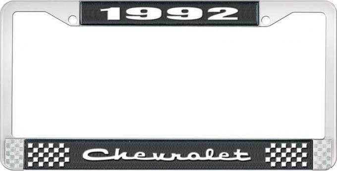 OER 1992 Chevrolet Style # 2 Black and Chrome License Plate Frame with White Lettering LF2239202A