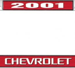 OER 2001 Chevrolet Style #3 - Red and Chrome License Plate Frame with White Lettering *LF2230103C