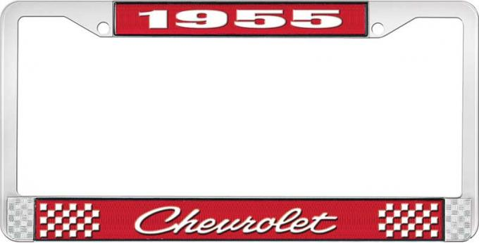 OER 1955 Chevrolet Style #4 Red and Chrome License Plate Frame with White Lettering LF2235504C