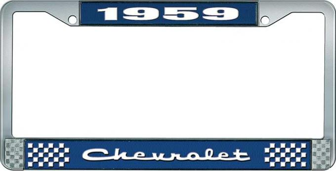 OER 1959 Chevrolet Style #2 Blue and Chrome License Plate Frame with White Lettering LF2235902B