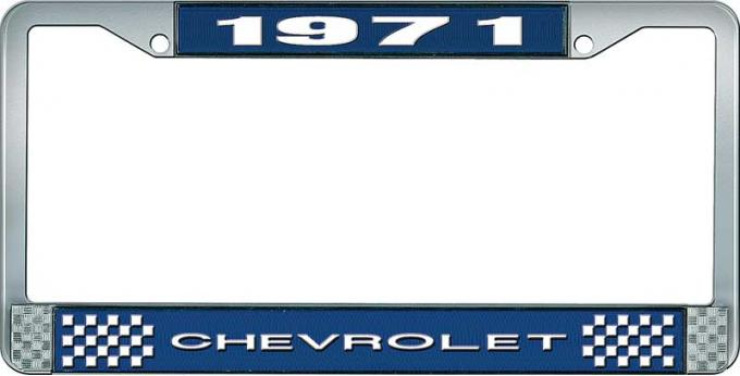 OER 1971 Chevrolet Style # 1 Blue and Chrome License Plate Frame with White Lettering LF2237101B