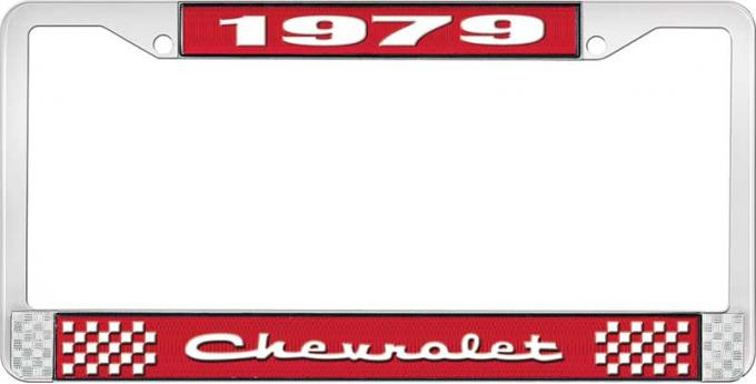 OER 1979 Chevrolet Style # 2 Red and Chrome License Plate Frame with White Lettering LF2237902C
