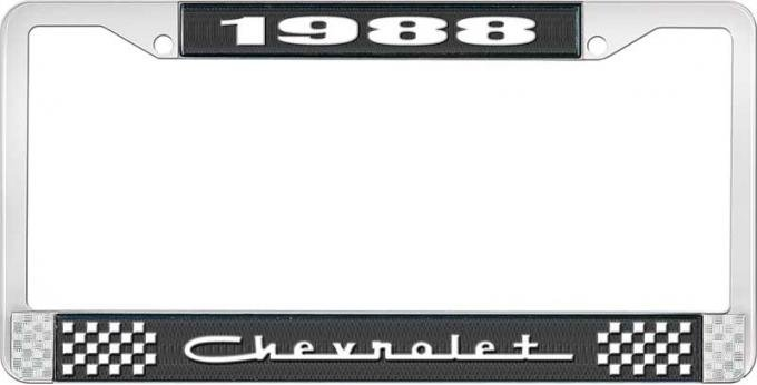 OER 1988 Chevrolet Style # 5 Black and Chrome License Plate Frame with White Lettering LF2238805A
