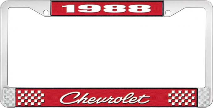 OER 1988 Chevrolet Style # 4 Red and Chrome License Plate Frame with White Lettering LF2238804C