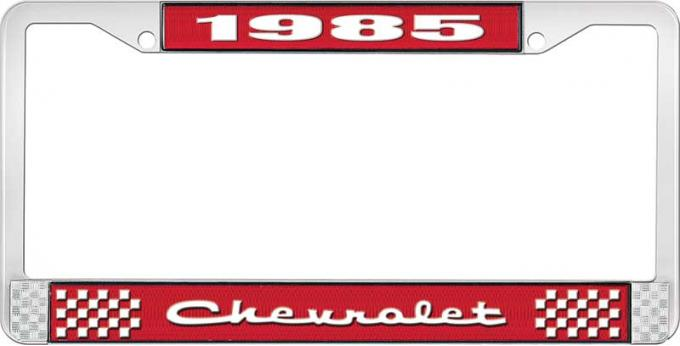OER 1985 Chevrolet Style # 2 Red and Chrome License Plate Frame with White Lettering LF2238502C